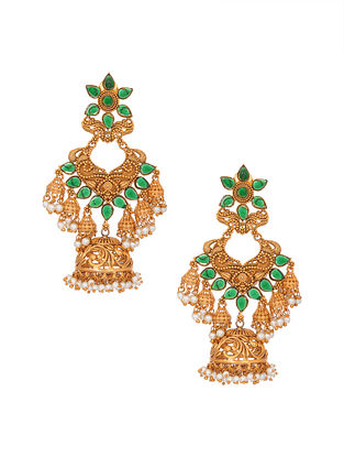 Green Gold Tone Handcrafted Earrings