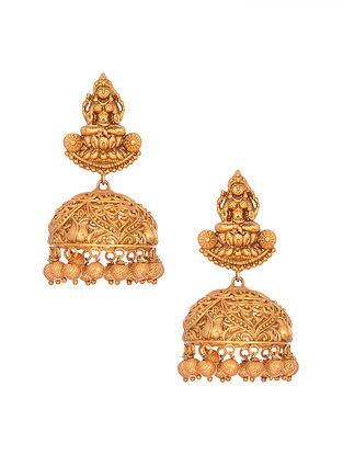 Gold Tone Handcrafted Jhumki Earrings