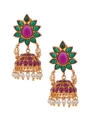 Green Pink Gold Tone Handcrafted Jhumki Earrings with Pearls