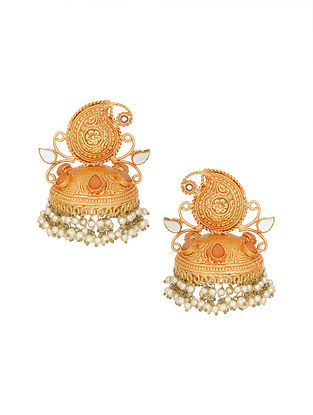 Orange Gold Tone Handcrafted Jhumki Earrings with Pearls