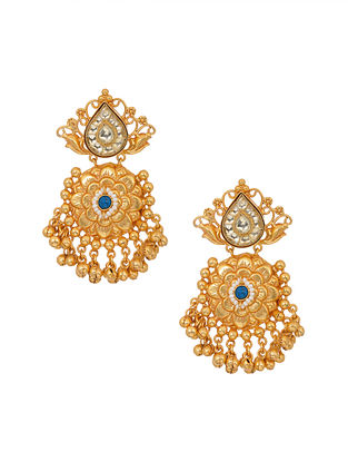 Turquoise Gold Tone Handcrafted Earrings