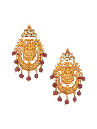 Marroon Gold Tone Handcrafted Earrings