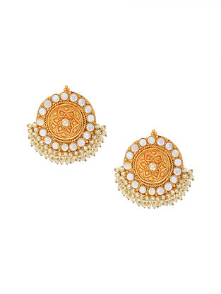 White Gold Tone Handcrafted Earrings with Pearls