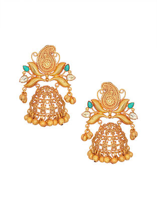 Turquoise Gold Tone Handcrafted Jhumki Earrings