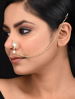 Gold Tone Nosepin with Pearls