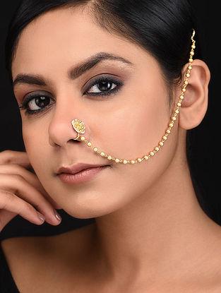 Gold Tone Kundan Nosepin with Pearls