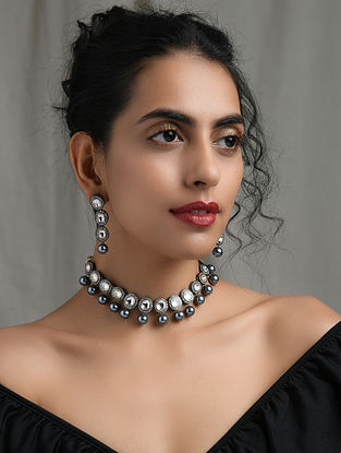 Silver Tone Handcrafted Pearl Necklace with Earrings (Set of 2)