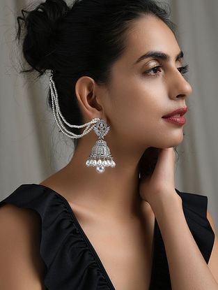 Silver Tone Handcrafted Earrings with Pearls