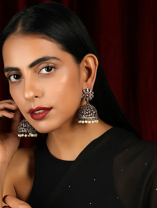 Brown Silver Tone Handcrafted Earrings with Pearls