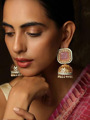 Blue Pink Gold Tone Kundan Earrings