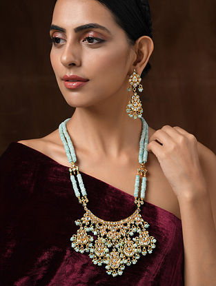 Turquoise Gold Tone Kundan Necklace with Earrings (Set of 2)