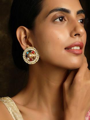 Multicolored Navratan Gold Tone Kundan Earrings with Pearls