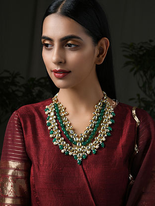 Green Gold Tone Kundan Necklace