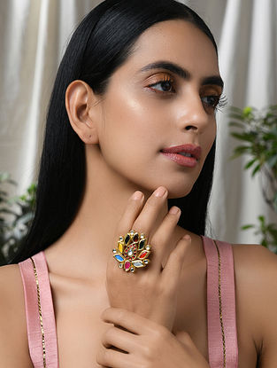 Multicolored Navratan Gold Tone Kundan Ring