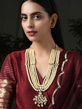 Gold Tone Kundan Beaded Necklace with Pearls