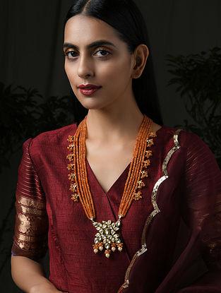 Orange Gold Tone Kundan Necklace