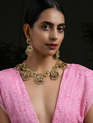 Green Red Gold Tone Kundan Necklace with Earrings