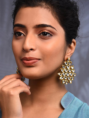 Gold Tone Kundan Earrings