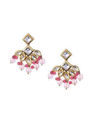 Rose Quartz Gold Tone Kundan Earrings