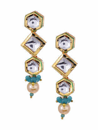 Gold Tone Kundan Earrings with Turquoise And Pearls