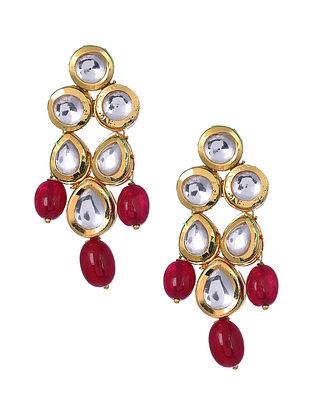 Garnet Gold Tone Kundan Earrings