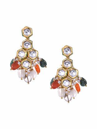 Multicolored Gold Tone Kundan Earrings with Jade Smokey Eye Onyx And Agate