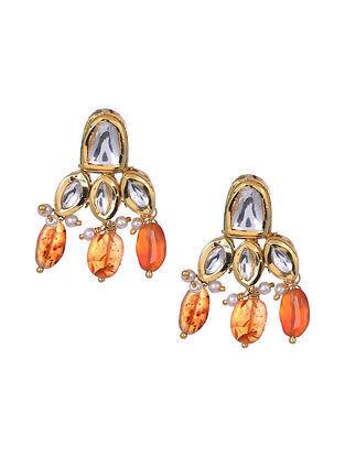 Orange Garnet Gold Tone Kundan Earrings