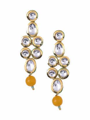 Yellow Gold Tone Kundan Earrings