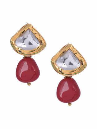 Red Gold Tone Kundan Earrings