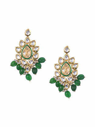 Jade Gold Tone Kundan Earrings