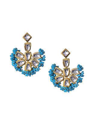 Turquoise Gold Tone Kundan Earrings