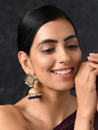 Onyx Blue Gold Tone Kundan Enameled Jhumki Earrings