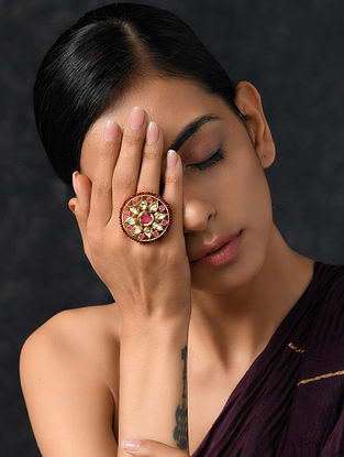 Onyx Gold Tone Kundan Beaded Ring