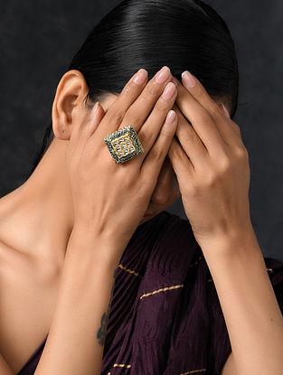 Blue Gold Tone Kundan Enameled Ring