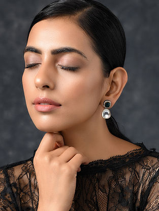 Green Silver Tone Kundan Earrings