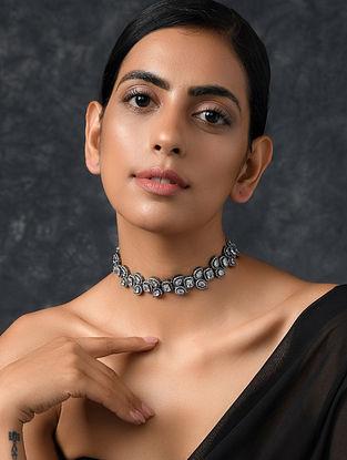 Silver Tone Kundan Necklace