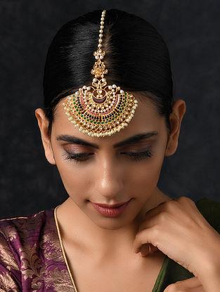 Multicolored Gold Tone Kundan Maang Tikka with Pearls