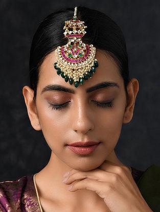 Jade Green Pink Gold Tone Kundan Maang Tikka with Pearls