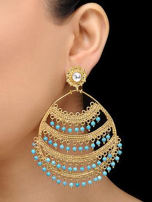 Feroza Gold Tone Turquoise Filigree Earrings