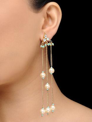 Feroza Gold Tone Kundan Inspired Pearl Earrings