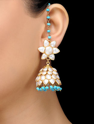 Feroza Gold Tone Turquoise Jade Pearl Jhumka