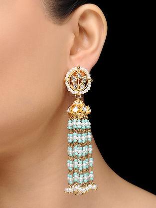 Feroza Gold Tone Kundan Inspired Turquoise Jhumka