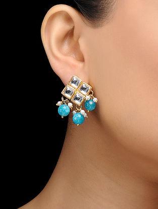 Feroza Gold Tone Turquoise Kundan Inspired Stud Earrings