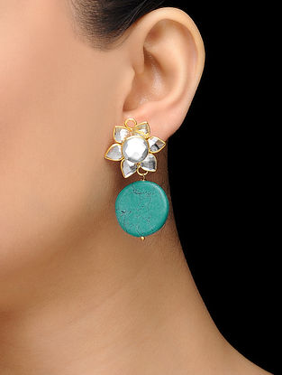 Feroza Gold Tone Turquoise Stud Earrings