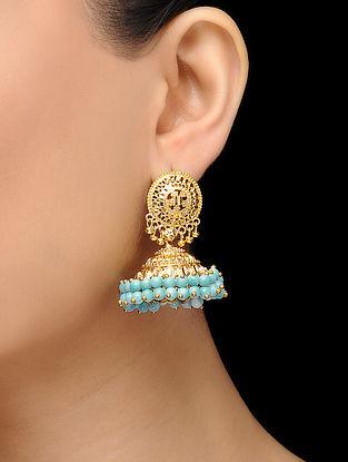 Feroza Gold Tone Turquoise Jhumka with Jadau and Aari Work