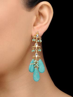 Feroza Gold Tone Turquoise Kundan Inspired Earrings
