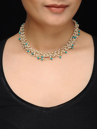 Feroza Gold Tone Turquoise and Pearl Necklace