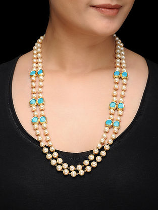 Feroza Turquoise and Pearl Necklace