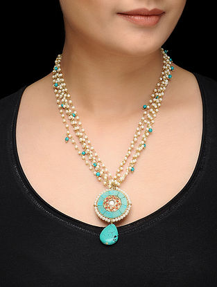 Feroza Gold Tone Pearls and Turquoise Necklace