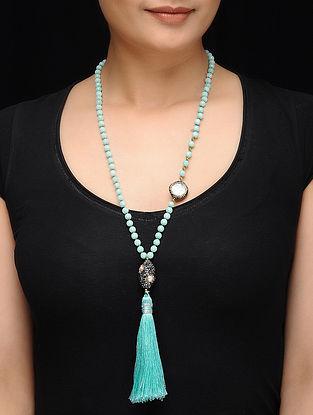 Feroza Turquoise Crystal Beaded Necklace with Tassel